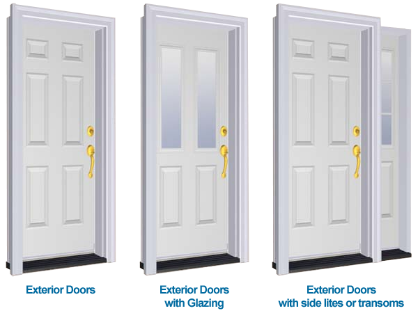 Exterior door types sill to sash for Different types of doors for houses